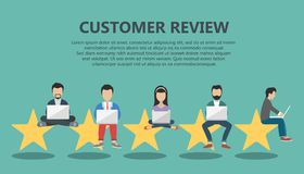 Concept of feedback, testimonials messages and notifications. Rating on customer service illustration. Five big stars with people. Sitting on them and giving Stock Image