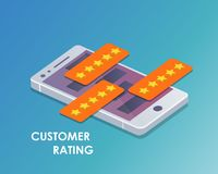 Concept of feedback, testimonials messages and notifications. Speech bubbles on mobile phone with review rating. Flat style smart phone reviews stars with good vector illustration