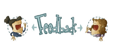 Concept of feedback. In white background, illustration of two businessman Royalty Free Stock Photography