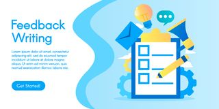 Concept of Feedback Writing, vector illustration in flat design. royalty free stock photo