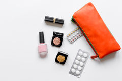 Concept of female contraception and healthcare on white background Royalty Free Stock Image