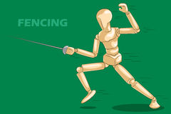 Concept of Fencing with wooden human mannequin Royalty Free Stock Images