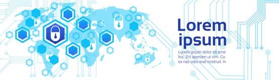 Concept fermé de technologie d'Access de fond de carte du monde de serrure de bannière horizontale de protection des données et d Photographie stock libre de droits