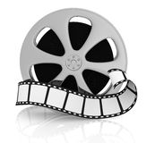 Concept of film industry. Front view of a film reel with a film strip in front of it (3d render Royalty Free Stock Image