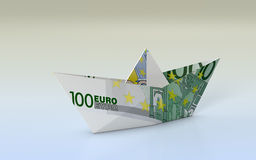 Concept of finance. Close-up view of a paper boat made with euro banknotes, concept of business and finance (3d render Royalty Free Stock Image