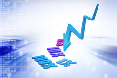 Concept finance percent with arrow in loss Stock Photo
