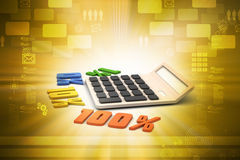 Concept finance percent with calculator. In color background Stock Photography