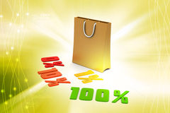 Concept finance percent with carry bag Royalty Free Stock Image