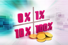 Concept finance percent. In color background Royalty Free Stock Image