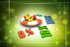 Concept finance percent. In color background Royalty Free Stock Photos