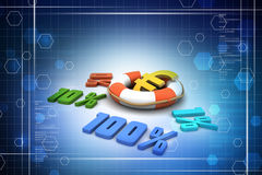 Concept finance percent. In color background Stock Photos