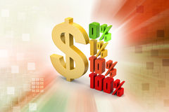 Concept finance percent with dollar sign. In color background Royalty Free Stock Images