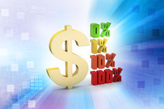 Concept finance percent with dollar sign. In color background Royalty Free Stock Image