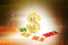 Concept finance percent with dollar sign. In color background Royalty Free Stock Photography
