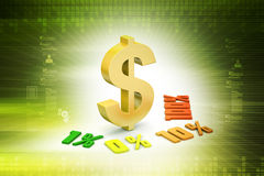 Concept finance percent with dollar sign. In color background Stock Image
