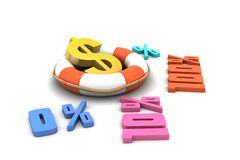 Concept finance percent with dollar sign. In white background Stock Photo