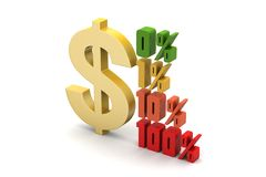 Concept finance percent with dollar sign. In white background Stock Image