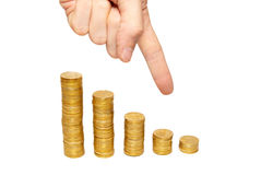 Concept of finance regression Royalty Free Stock Image