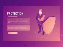 Concept of finance safety and risk protection, businessman with shield, data protection isometric vector banner 3d. Concept of finance safety and risk protection Royalty Free Stock Photography