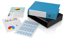 Concept of financial analysis. One office folder with some sheets with financial data (3d render Stock Photography