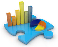 Concept of financial analysis. Bar chart and pie chart on a puzzle piece (3d render Stock Photos