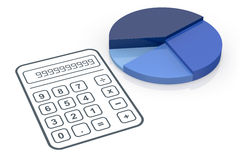 Concept of financial analysis. One pie chart with a calculator (3d render Royalty Free Stock Image