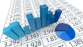 Concept of financial analysis. Close up view of bar chart, pie chart  and a spreadsheet (3d render Royalty Free Stock Photos
