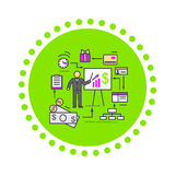Concept of Financial Analysis Icon Flat Stock Images
