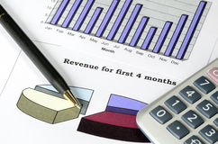 Concept of financial analysis, stock market charts Royalty Free Stock Images