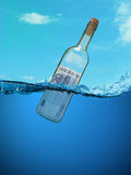 Concept. Financial assistance. Bottle of money floating in the water Royalty Free Stock Image