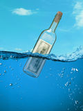 Concept. Financial assistance. Bottle of money floating in the water. in aquamarine colors Royalty Free Stock Photos