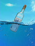 Concept  financial assistance. Bottle of money floating in the water. drowning in an ocean of money Stock Photo