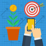 Concept of financial business growth. Vector web infographic concept of financial business growths. Hands of businessman using a smart phone and target circle Royalty Free Stock Photography