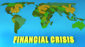 Concept of Financial Crisis. Concept of a worldwide financial crisis, with the symbols for Dollars, Euros and Yen on a map Stock Photos