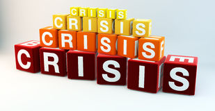 Concept of Financial Crisis in cubes. Concept of a worldwide financial crisis, created in colorful cubes Stock Photos