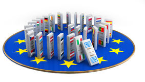 Concept of Financial Crisis in dominoes tiles. Concept of a European financial crisis, created with dominoes tiles with all the European community countries Stock Photography