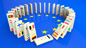Concept of Financial Crisis in dominoes tiles. Concept of a European financial crisis, created with dominoes tiles with all the European community countries. The Stock Photos