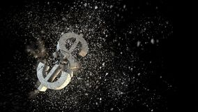 Concept of financial crisis. Mixed media. Cracked stone dollar sign on dark background. Mixed media Stock Images