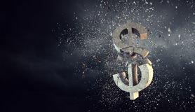 Concept of financial crisis. Mixed media. Cracked stone dollar sign on dark background. Mixed media Royalty Free Stock Photography