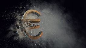 Concept of financial crisis. Mixed media. Cracked stone euro sign on dark background. Mixed media Stock Images