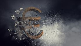 Concept of financial crisis. Mixed media Royalty Free Stock Photography