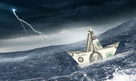 Concept of financial crisis. Mixed media Royalty Free Stock Image