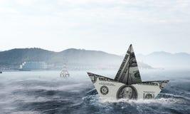 Concept of financial crisis. Mixed media Stock Photos