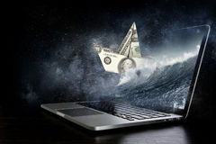 Concept of financial crisis. Mixed media Royalty Free Stock Photos