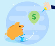 Concept of financial crisis. Naughty piggy bank inflates bubble, and a businessmans hand wants to blow away ball. The concept of financial crisis. Naughty Pig Royalty Free Stock Photos