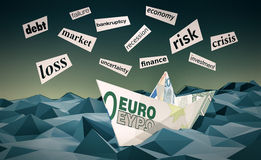 Concept of financial crisis. One paper boat made with euro banknotes on a stormy sea and scraps of paper with words about financial crisis, low-poly style (3d Royalty Free Stock Photos