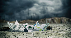 Concept of financial crisis. Two paper boats made with banknotes on a puddle of water and dry ground, stormy sky, concept of financial crisis (3d render Royalty Free Stock Images