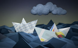 Concept of financial crisis. Two paper boats made with financial documents on a stormy sea, concept of financial crisis, low-poly style (3d render Stock Photo