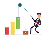 Concept of financial growth. Businessman or manager pulls the rope rising income. Smiling man in a business suit. Vector. Illustration EPS10 Stock Image