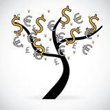 Concept of financial growth through an illustration with a tree Stock Images